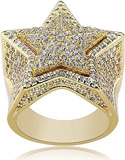 Moca Jewelry Anello Hip Hop per Uomo con Pentagramma in Oro 18 carati con placcatura in Oro 18 carati con Diamante zircone...