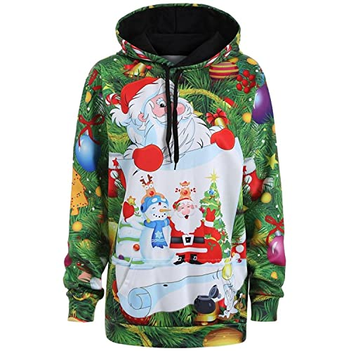 6a0efaef2d6c Anglewolf Womens Christmas Santa Claus Snowman Printed Loose Hoodie  Sweatshirt Ladies Girls Casual Hooded Pullover Shirt