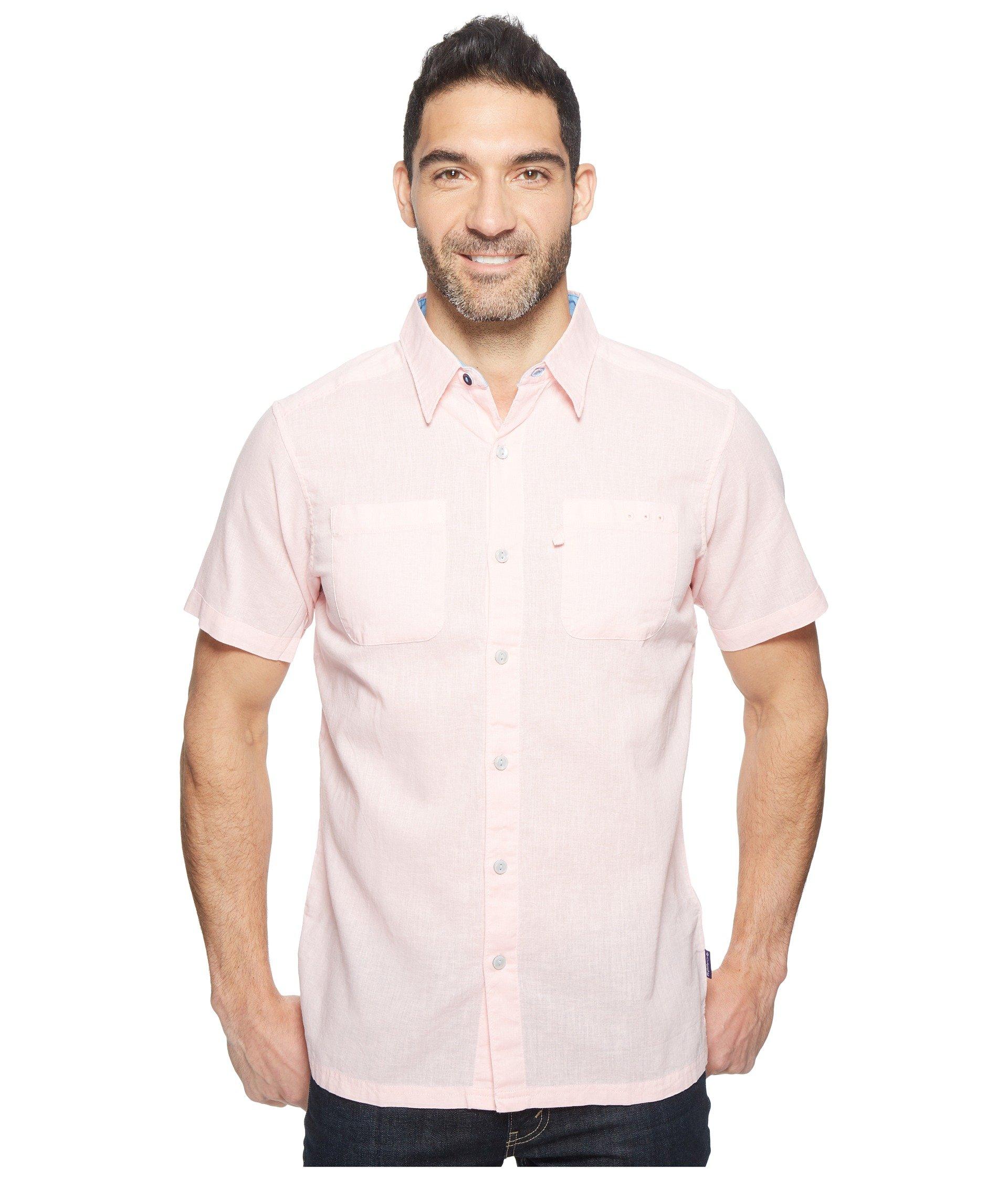 61aba08e001 COLUMBIA. Harborside Slim Fit Linen Camp Shirt in Stone Collegiate Navy