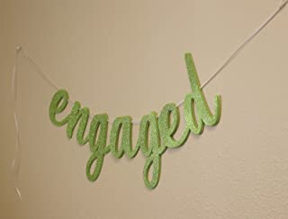 All About Details Engaged Cursive Banner, Engagement, Bridal Shower, Party Banner, Party Decor, Photo Backdrop, 1set (Lime...