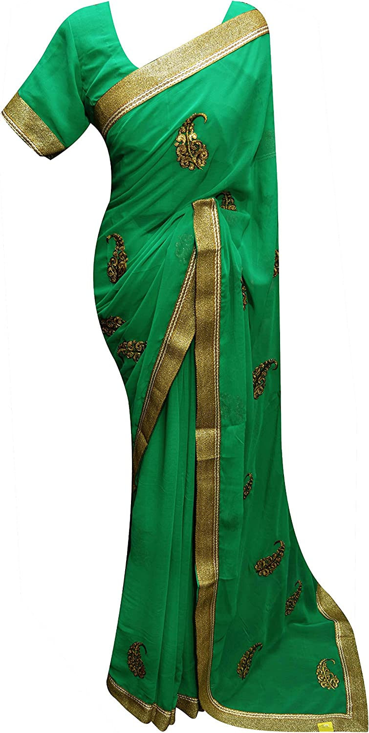 Bollywood Indian SEA GREEN Wedding Party wear latest zari embroidered saree 7210