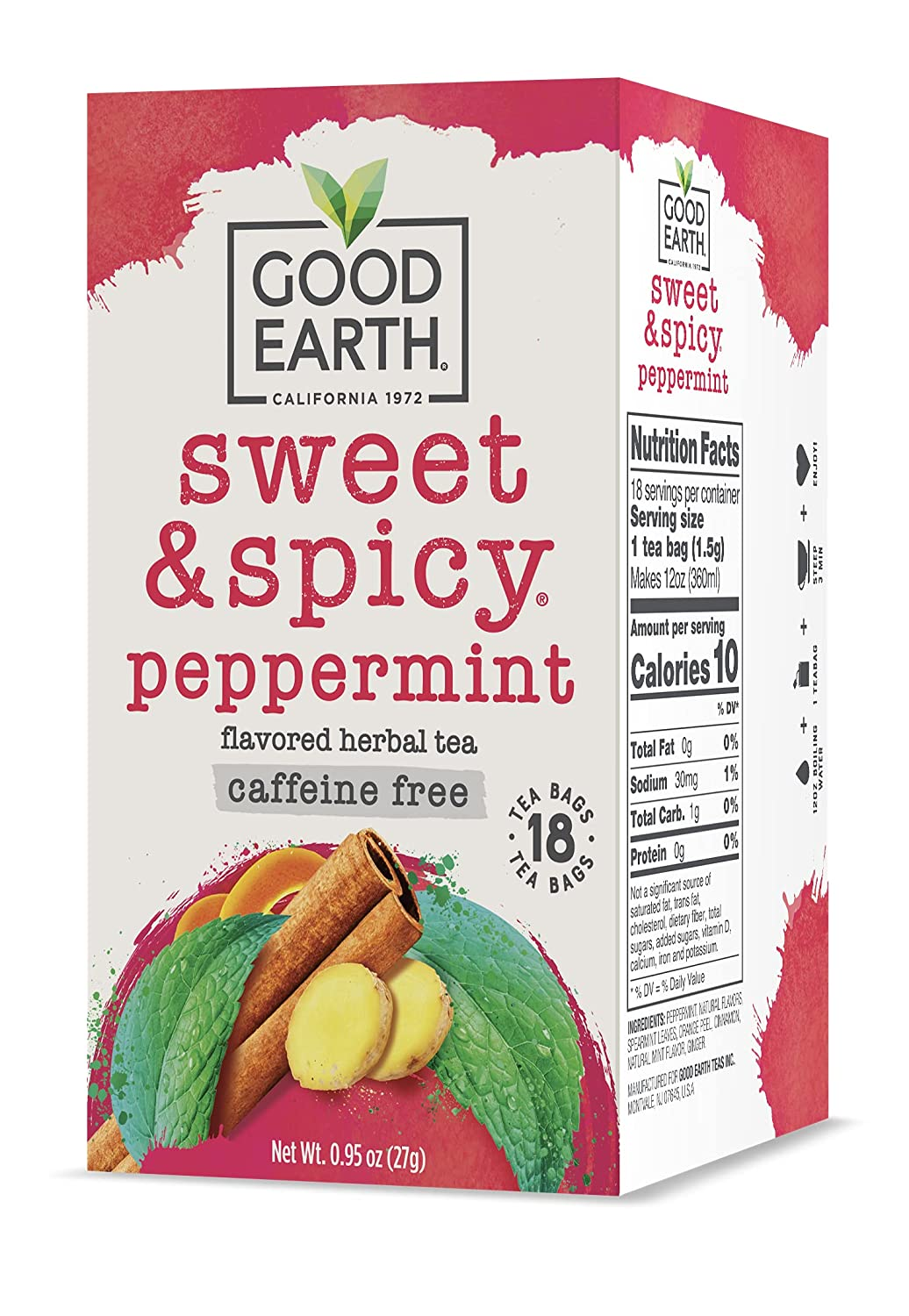 Good 25% OFF Earth Sweet Spicy Caffeine Free Herbal Max 42% OFF Peppermint Tea 1