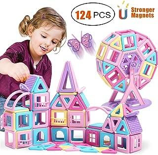 HOMOFY 128PCS Castle Magnetic Blocks Magnet Tiles Educational Toys for 3 4 5 6 7 Years Old Boys Girls Kids Toddlers (124 Castle Magnetic Blocks)