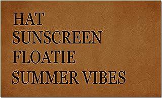 MOMOBO Funny Doormat Custom Indoor Doormat -Hat Sunscreen Floatie Summer Vibes Doormat Funny Front Mats Home and Office De...