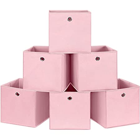 SONGMICS Lot de 6 Boîtes de Rangement Pliables, Panier, Coffre, Cubes en Tissu, Organisateur de vêtements, Bacs à Jouets, avec oeillet, 30 x 30 x 30 cm, pour Chambre, Salon, Rose RFB02PK-3