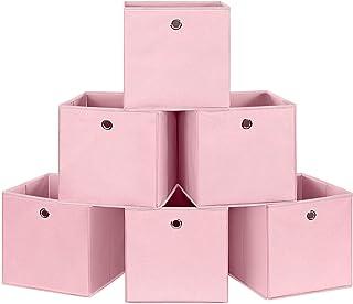 SONGMICS Lot de 6 Boîtes de Rangement Pliables, Panier, Coffre, Cubes en Tissu, Organisateur de vêtements, Bacs à Jouets, ...