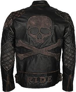 جاكيت رجالي من الجلد بطراز قديم لراكبي الدراجات النارية من Skull & Bones أسود اللون