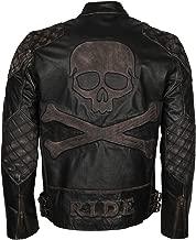Mens Skull & Bones Black Distressed Leather Vintage Motorcycle Leather Jacket