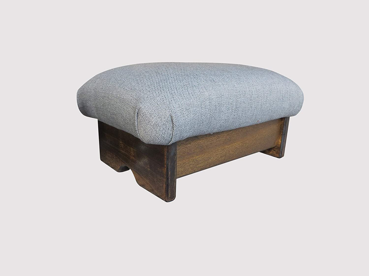 KR Ideas Padded Foot Stool Grey Ashe 7  Walnut Stain (Made in The USA)