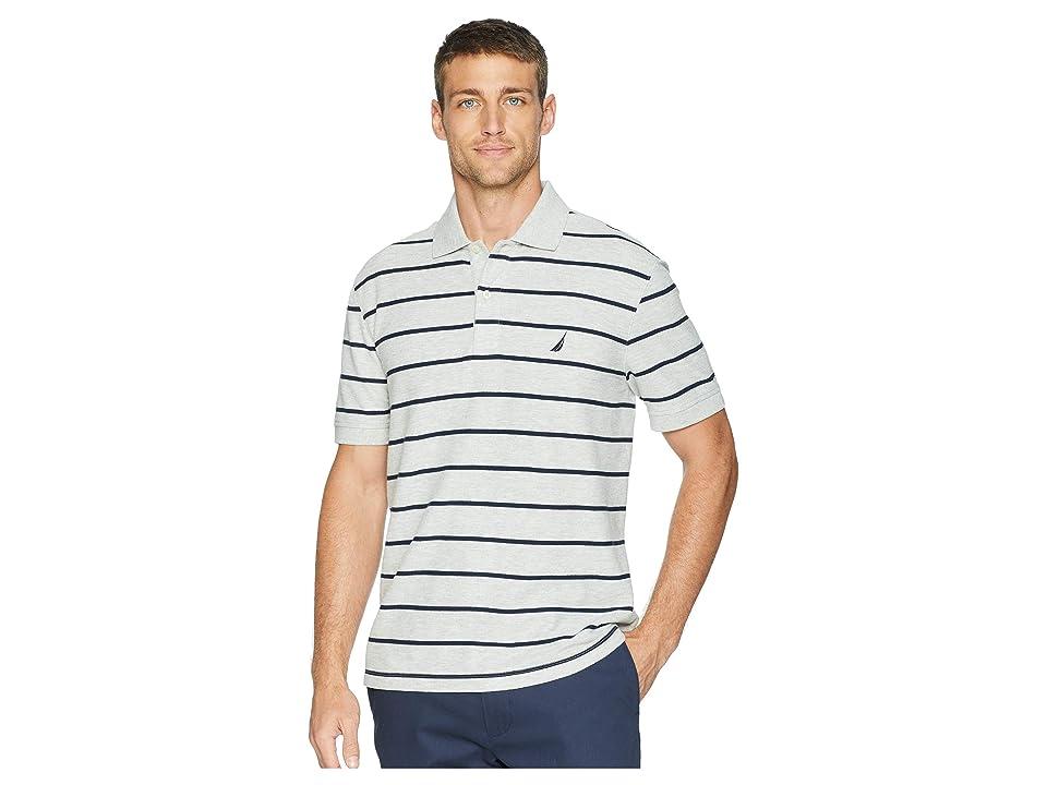 Nautica Short Sleeve Stripe Classic Deck (Grey Heather) Men