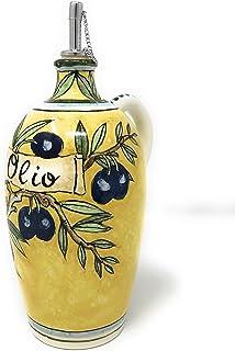 CERAMICHE D'ARTE PARRINI- Ceramica italiana artistica, ampolla olio decorazione olive, dipinto a mano, made in ITALY Toscana
