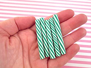 Polymer Clay Green Peppermint Swirl Candy Canes, Cute Fake Sweets, 265(2 Canes)
