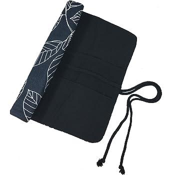 15 Inches Paint Brush Holder Roll Up Artist Case Pen Holder 20 Pockets Canvas Pouch Bag (Blue Leaf)