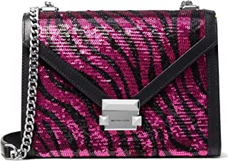 MICHAEL Michael Kors Whitney Large Zebra Sequined Leather Shoulder Bag, Berry Black