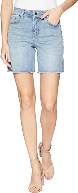 Jenna Shorts with Side Seam Embroidery in Clean Cloud Nine