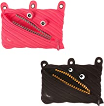 ZIPIT Grillz 3-Ring Pencil Case 2-Pack Bundle (Pink and Black)