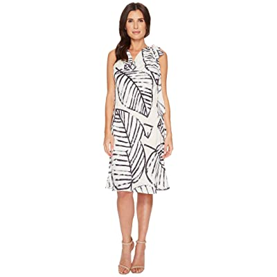 NIC+ZOE Etched Leaves Tie Dress (Sandshell) Women