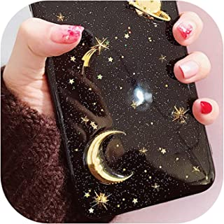 for Three-Dimensional Metal Stars Star Glitter for iPhone X Mobile Phone Shell for iPhone 8 / 6s / 7 Plus Moon Soft Silicone,ckyueliangHei,for iPhone 6 6S Plus