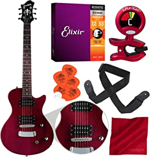 Hagstrom Ultra Swede ESN Electric Guitar Transparent Wild Cherry with Clip-On Tuner, Strings, Picks, and Accessory Bundle