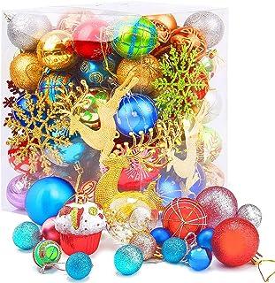 Amzeeniu Bolas de Navidad Juego de 60 – 70 Bolas De Arbol De Navidad Plástico Multicolor Muchos Tipos Diferentes Adornos B...
