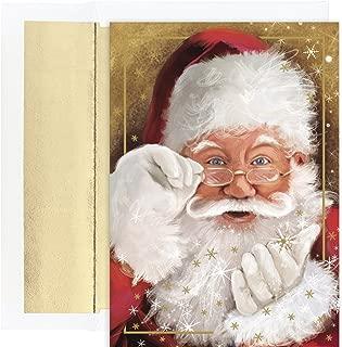 Masterpiece Studios Holiday Collection 18 Cards / 18 Foil Lined Envelopes, Sparkling Santa