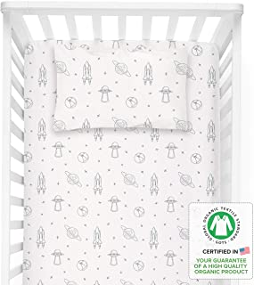 MakeMake Organics Organic Crib Sheet GOTS Certified Organic Cotton Crib Sheet Fitted & Pillowcase Buttery Soft Breathable Natural Dyes Hypoallergenic Baby Toddler Bed Sheet Set (Astronaut Blue)