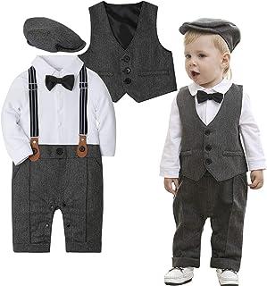 dcdfaa2fd ZOEREA Baby Boy Outfits Set, 3pcs Long Sleeves Gentleman Jumpsuit & Vest  Coat & Berets