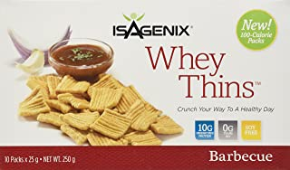 Isagenix Whey Thins 100 Calorie Packets (10 grams of Protein) (10 Packets) Barbecue Flavor