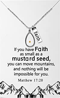 Uloveido Stainless Steel Faith Mustard Seed Pendant Necklace Charms Christian Necklaces Packed with Gift Box Y1030