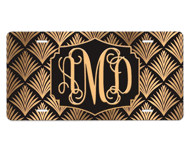 Art Deco License Import Plate Spring new work Gold Black Monogram Custom