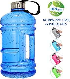 Vaupan Half Gallon Big Water Bottle, 2.2L/73 OZ Large Leak Proof Sports Jug with Handle,Huge BPA Free PETG Plastic Wide Mouth Drinking Container Flask for Fitness Gym Biking Travel Outdoor Water Jug