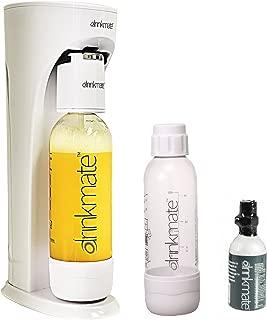 Drinkmate Beverage Carbonation Maker with 3 oz Cylinder Includes Two BPA-free Carbonation bottles, 1Litre and half litre bottles (White)