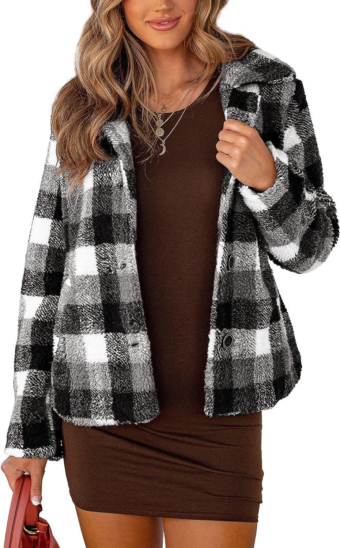 Women's Plaid Fleece Jacket Flannel Brushed Casual Sherpa Coat Long Sleeve Button Down Shirt Outwear Shackets