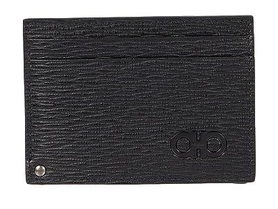 Salvatore Ferragamo Revival Gancio Credit Card Case 66A061 (Black/Dark Rain) Credit card Wallet