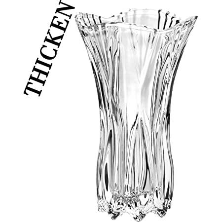 """Slymeay YISHENGRONG Flower Vase Large Size Phoenix Tail Shape Thickened Crystal Glass for Home Decor, Wedding or Gift - 10"""" High x5 Wide,with Color Box"""