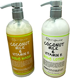 Renpure Coconut Milk and Vitamin E Body Wash and Body Lotion Bundle (24 Ounces Each)
