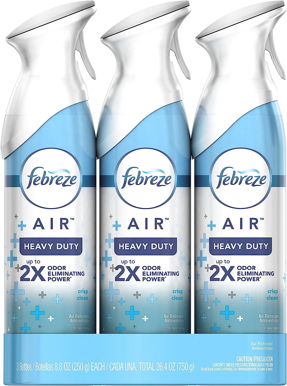 Febreze Air Freshener Heavy Duty Spray, Odor Eliminator, Crisp Clean, 8.8 Oz (Pack of 3)