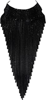 Women Crystal Stunning Tassel Collar Luxury Statement Necklace for Banquet, Prom
