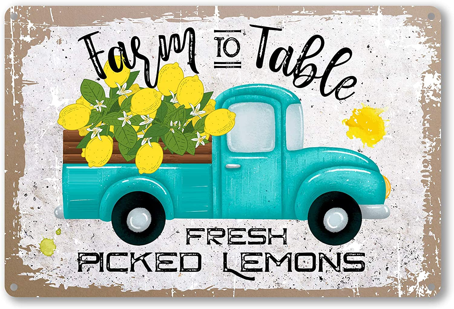 ForbiddenPaper Funny Quote Lemon Metal Tin Sign Wall Decor - Vintage Farm to Table Fresh Picked Lemons Metal Tin Sign for Home Bar Coffee Wall Decor Gifts - Best Retro Signs Decor Gift 8x12 Inch