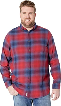 Big & Tall Ombre Plaid Cotton Long Sleeve Woven