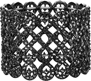 Art Deco Love Knot Wide Stretch Bridal Bracelet Austrian Crystal