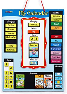 ZazzyKid Magnetic Daily Calendar for Kids - My First Calendar for Today's Date, Weekday, Month, Season, Weather - Learn & ...