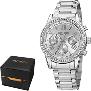 Akribos XXIV Women's Fashion Quartz Multifunction Watch - Sunburst Dial - Featuring a Stainless Steel Bracelet − AKN872