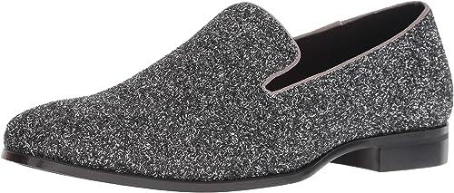 STACY ADAMS Hommes's Swank Glitter Slip-On Loafer, argent, 8 M US