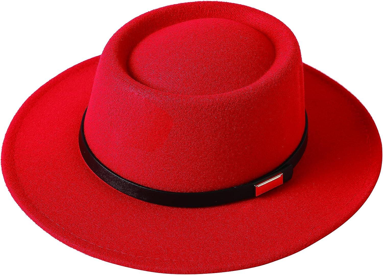Lanzom Women Vintage Wide Brim Warm Wool Fedora Hat Belt Panama Hat Felt Jazz Hat
