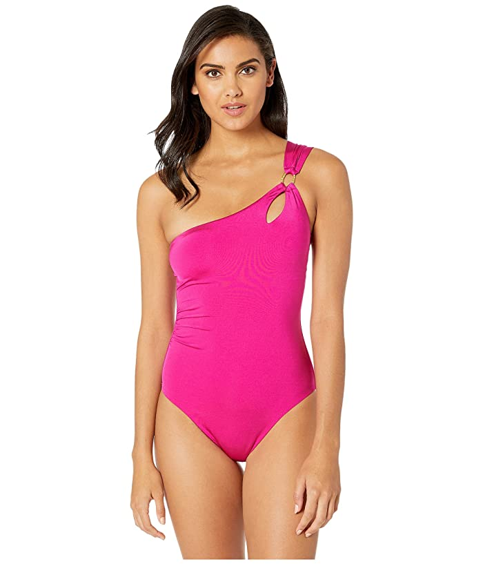 Trina Turk Getaway Solids One Shoulder One-Piece Swimsuit (Berry) Women