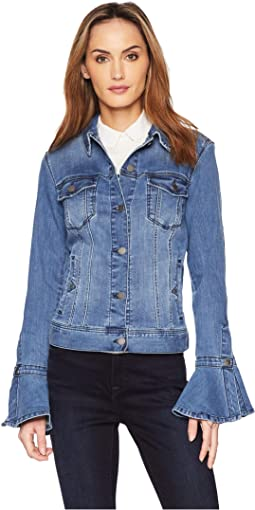 Split Bell Sleeve Jean Jacket w/ Closure Super Comfort Stretch Denim Jean