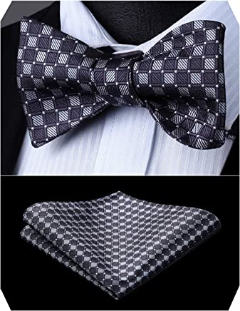 HISDERN Bow Ties For Men Elegant Silk Bowtie & Handkerchief Set Formal Tuexdo Self-Tie Bowties with Adjustable Size and Colors, Great for Business,Wedding and Party