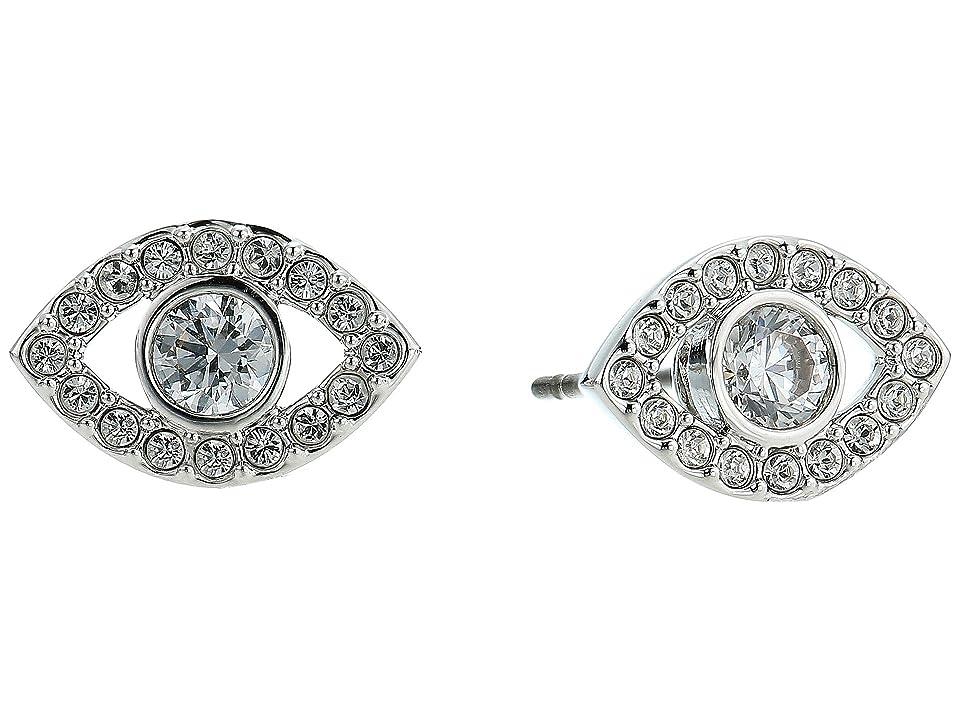 Swarovski Luckily Evil Eye Pierced Earrings (Rhodium Plating/White) Earring