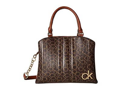 Calvin Klein Paige Quilted Monogram Satchel (Brown/Khaki/Luggage Saffiano) Satchel Handbags